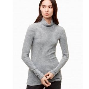 Aritzia Wilfred Free Ribbed Mock Neck Long Sleeve